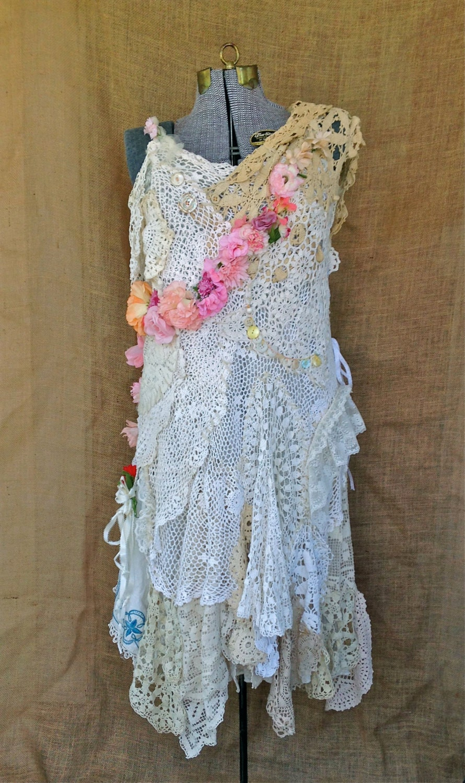 Fairytale Dress Vintage Doilies And Flowers