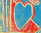 Blue Heart and Moon Fine Art Block Print by Jason Hogan, Red White Blue Linocut Print