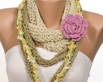 Four-piece scarf. Soft color Beige and Green and Pink. Spring scarf. Mothers Day. New season women scarf.