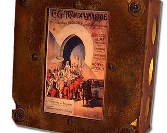 Retro Travel Poster Night Light Transatlantique 12