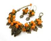 Charm bracelet - Green cloudy yellow jewelry - Handmade bracelet earrings - Polymer amber