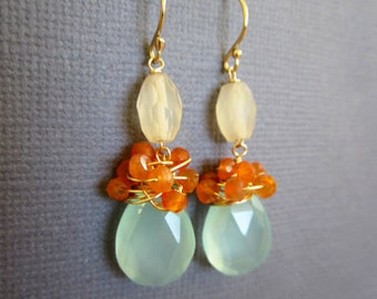 Aqua Blue Chalcedony wire wrapped with Carnelian, Orange bule earrings, Hand wired wrapped Jewelry, Wedding Bridesmaid jewelry