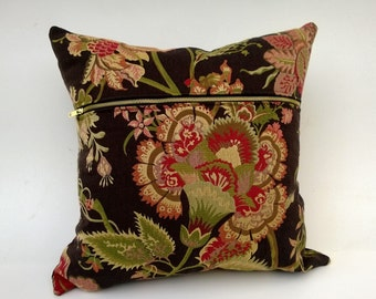 Sale! Chocolate Brown Floral Pillow Cover Gold-Tone Accent Zipper, Brown, Red, Green, Tan 18 x 18 Model, One Of A Kind!
