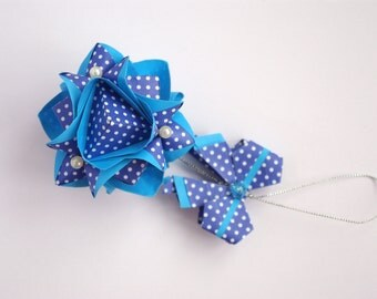 Sale 28% OFF - Christmas paper ornament - tree decoration - Gift ideas - Blue decor - winter holidays  - Christmas origami home decor