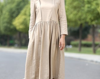 Beige Linen Dress - Casual Comfortable Everyday Loose-Fitting Women's Day Dress with Long Sleeves & Button Back C269
