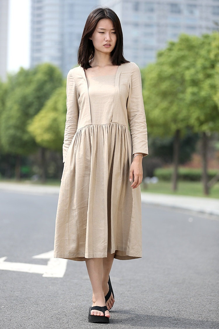 Beige Linen Dress Casual Comfortable Everyday by YL1dress ...