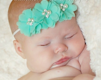 Mint Baby Headband, Infant Headband, Newborn Headband - Mint Headband Chiffon and Pearls Flower Headband, Easter Headband