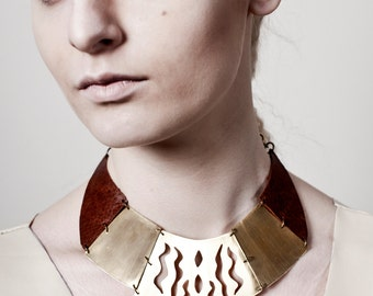 FREYJA collar necklace - reclaimed brass and vintage leather