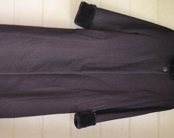 Vintage 1980s Wool Coat Womens Dress Coat by Leslie Fay Brown Wool Coat Long Dress Coat Size 8