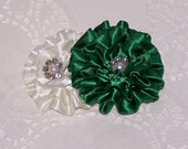 Cream and Emerald Green Satin Ruffle Flower Fascinator Hair Clip --Girls Satin Ruffle Flower Rhinestone  Hair Clip