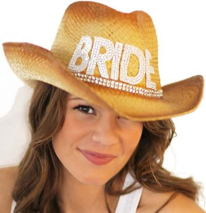 country western rockstar gem bride cowgirl straw bride hat. Black Bedroom Furniture Sets. Home Design Ideas
