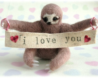Three Toed Sloth Needle Felted Animal Ornament Felt Art Doll With Removeable Custom Banner