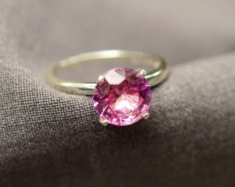 Pink Tourmaline Ring in Sterling Silver, 2ct Ring, October Birthstone, Engagement Ring, Proposal Ring, Abish Jewelry Works, Free Shipping