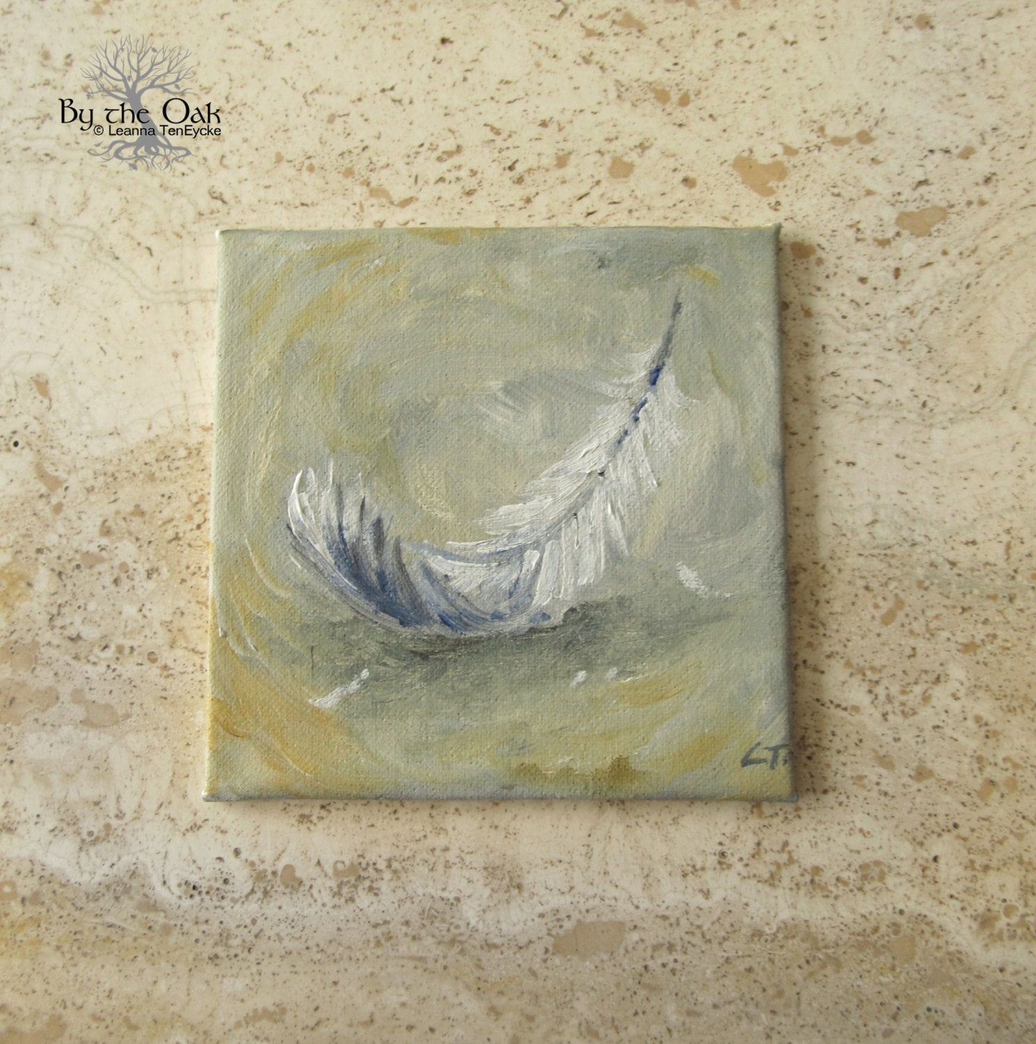 Feather painting miniature acrylic wall art angel eagle for Painting feathers on canvas