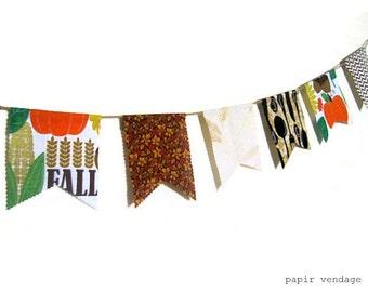 Fall Bunting Banner,Thanksgiving bunting banner,Thanksgiving Home Decor,Fall Decorations,Fabric Fall Bunting Banner, 9ft Bunting Banner