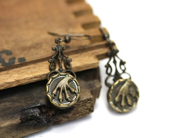 "Bird Talon Earrings, Macabre Jewelry, Creepy Gift, Antique Button Earrings, Halloween Jewelry, Victorian Screwbacks - ""Prey Upon My Heart"""
