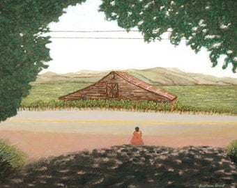 """Peaceful country scene: 7.5"""" x 10"""" signed & numbered print of my original oil painting """"QUIET INTERFERENCE #6""""."""
