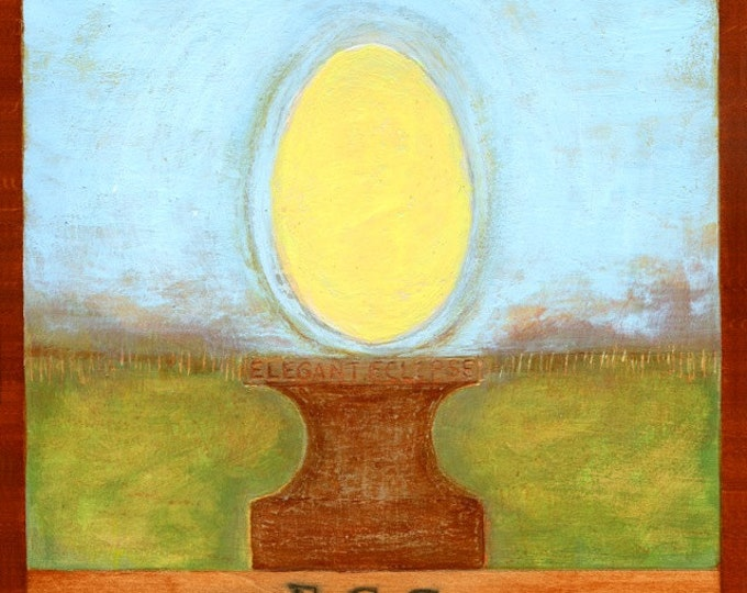 """E is for EGG, original mixed media painting, part of my """"VISIONS: A-Z"""" project"""