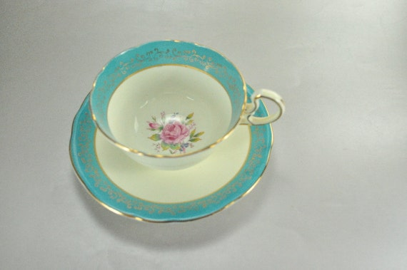 Aynsley Bone China Teal Blue Pink Rose Coffee Cup Saucer Gold Trim