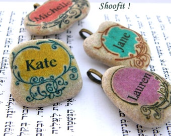 group gift, bridesmaid gift, anniversary gift, personalized gift, unique gift, name necklace,pendant, bat mitzvah, name jewel decorated tile