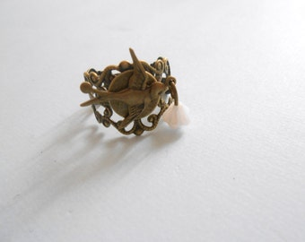 bird ring - vintage swallow ring - vintage flower ring - adjustable ring - lace ring - filigree ring - swallow jewelry - brid jewelry