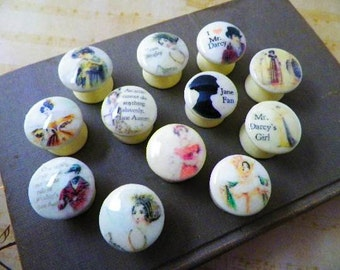 Decorative Knobs Feauring Jane Austen Characters for your Dresser Drawers or Cabinet Doors. 1 Inch Knobs. Choose Your Favorite Character