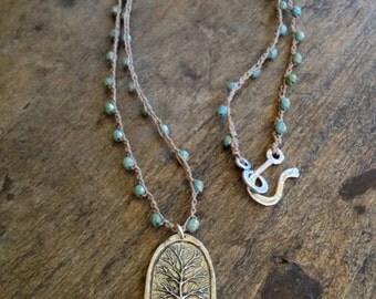 Tree of Life, Boho Necklace, Crochet Necklace, Layering Necklace, Boho Jewelry, Sky Blue, Silver Tree, Bohemian Jewelry, Tree Necklace
