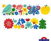 Finnish Flowers Wide Washi Tape - Vivid Primary Colors - 38mm - Scandinavian Motifs - Nordic Birds Fruits Flowers