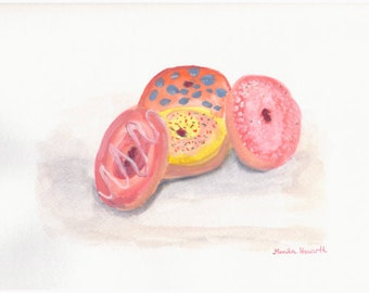 50% off Donuts art, ORIGINAL watercolor painting, doughnuts painting, donuts watercolor, painting donuts art