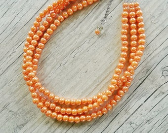 Orange pearl necklace,bridesmaids orange necklace,Tangerine necklace,Bridesmaids gift,Bridal orange jewelry,Orange wedding,Three strand