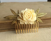 cannabis wedding,gift for her,weed hair clip,wedding, stoner, wedding Marijuana hair accessory bridal gold rose ivory cannabis wholesale