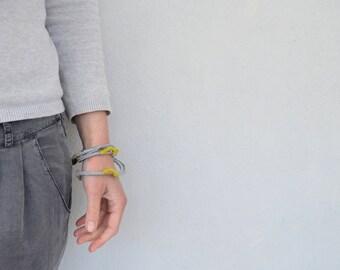 Grey wrapped bracelet- boho tribal jewelry -crochet bracelet- summer eco friendly jewelry