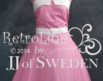 Polka dot rockabilly dress. Designed handmade 50's Retro inspired halterneck M / L