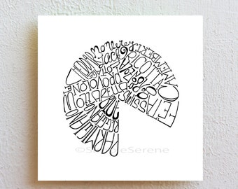 Kitchen Art Print - Cheese Typography Print, ink drawing black and white cheese art poster, minimalist decor hostess gift housewarming gift