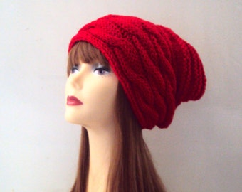 Oversized Baggy Hat Super Slouchy Beanie Baggy Hat Cable Knit Winter Hat  Gift For Her
