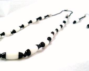 Black & White Stripe Beaded Jewelry Set