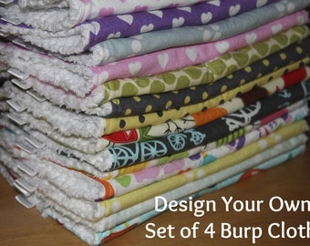 DESIGN YOUR OWN - Set of 4 Cloth Diaper Burp Cloths - You Choose Your Fabric
