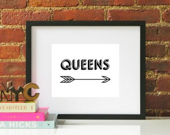 Black White Queens Arrow Typography Original Modern Home Office Decor Graphic New York City NYC Pattern Print Poster