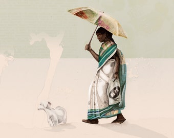 Travel Series, Illustration Art Giclee Print 'Kerala Backwaters' Indian Woman with Beautiful Sari and Goat on the Canals of Kerala, India
