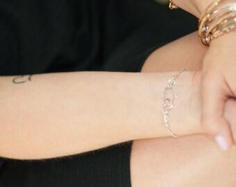 Two Hearts Bracelet, Sterling Silver Heart Bracelet, Dainty Silver Jewelry, Sterling Silver Hammered Heart, Hand Forged Metal Jewelry