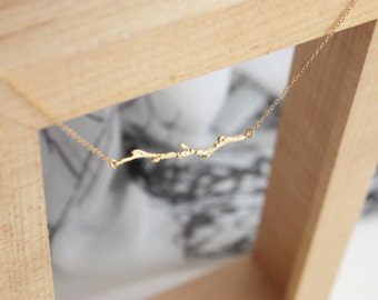 Tree Stick Necklace, Sideways Bar, Wood Stick, Tree Branch Necklace, Simple, Bridesmaid Gift