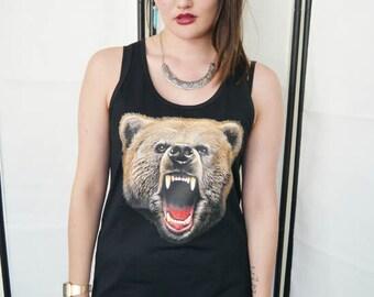 Wildlife Bear Roar Vest, Bear top, Bear Tank Top, Bear Vest, Bear tee, Wildlife vest, Bears, Sleeveless, Vest Top, Unisex, New