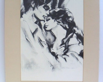 """Signed Lithographic Print Hyacinthe Kuller Artist Painter Sculptor """"When Love Comes"""""""