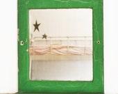 Vintage Wood Mirror Shelf, Green Bathroom Wall Shelf, Shabby Chic, Primitive, Cottage, Old Mirror