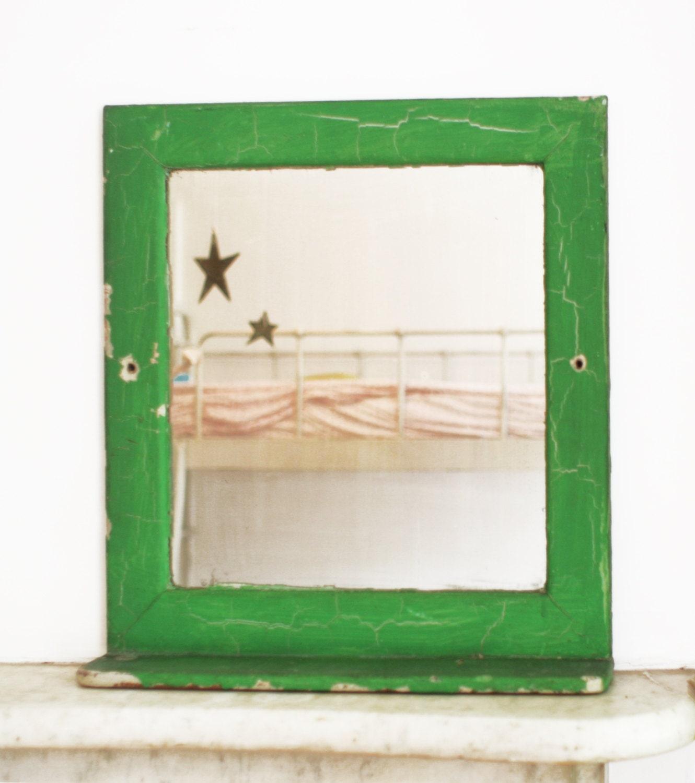 Vintage wood mirror shelf green bathroom wall shelf shabby - Wooden bathroom mirror with shelf ...