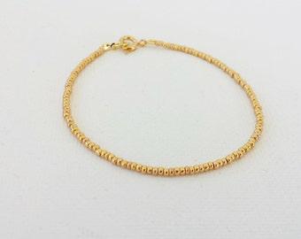 Gold bracelet, minimalist gold beaded bracelet,one strand bracelet, seed bead bracelet,friendship bracelet,metallic bracelet,bridesmaid gift
