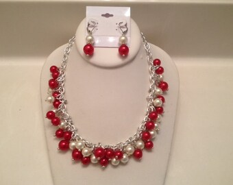 Divine Crimson: Red & White Beaded Necklace