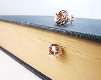 Rose Gold Earrings,  Rose Gold Knot Earrings, Tie The Knot Earrings, Rose Gold Stud Earrings, Bridesmaids Gift