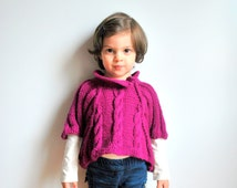 Shawl/ wool/ girl/ purple/ handknitted/ jersey/ kids/ shrug/ wrap/ winter clothing