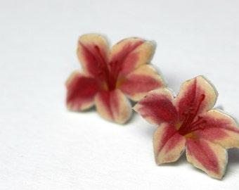 Lilly earrings, flower earrings, Lilly post earrings, flower post earrings, earrings, pink,